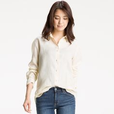WOMEN Premium Linen Long Sleeve Shirt   UNIQLO