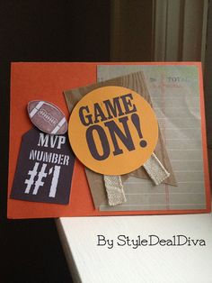 Game On Football Card by StyleDealDiva on Etsy, $3.00 Made using card stock, ink, ribbon and the Great Sport stamp set from Stampin' Up!
