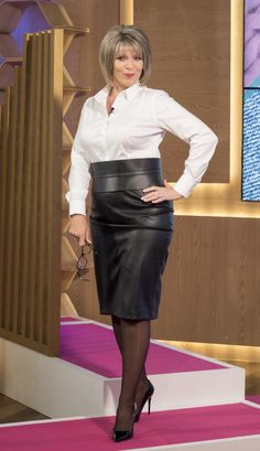 Ruth Langsford accuses Eamonn Holmes of dressing her like a 'sexy secretary' during This Morning fashion segment This Morning Fashion, Sexy Older Women, Sexy Women, Ruth Langsford, Tv Girls, Sexy Blouse, Classic Looks, Her Style, New Outfits