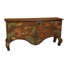With a woodlands dark stain finish accented with hand-painted over-sized floral artwork, this French country sideboard will add a beautiful touch to your bedroom. This sideboard features antiqued rose