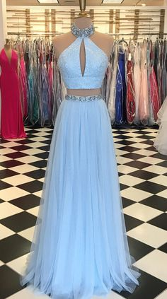 Light Blue Beaded Prom Dress,High Neck Two Piece #prom #promdress #dress #eveningdress #evening #fashion #love #shopping #art #dress #women #mermaid #SEXY #SexyGirl #PromDresses