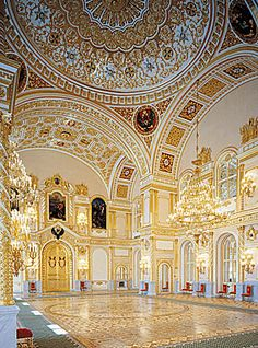 Grand Kremlin Palace, Moscow, Russia, breathtaking as all of them are in Russia!  The Grand Kremlin Palace was built on orders from Tsar Nicholas I in the mid-19th Century.  The architects outdid themselves!