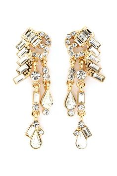 Gold Deco Chandelier Earrings- picturing these with a white dress pinned with Bazaart