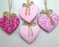 Set of 4 Felt Heart Ornaments Home decor Favors by HandmadeByHelga