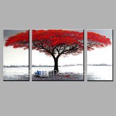 Pintada a mano Abstracto Horizontal,Modern Tres Paneles Lienzos Pintura al óleo pintada a colgar For Decoración hogareña 2017 - $121.54