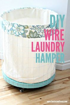 Diy Home : Illustration Description DIY Wire Laundry Hamper. How to make a fabric lined laundry hamper with paint, wire and an thrift store table. Fun Crafts, Diy And Crafts, Diy Daybed, Vanellope, Diy Wall Shelves, Laundry Hamper, Laundry Room, Laundry Detergent, Diy Hanging