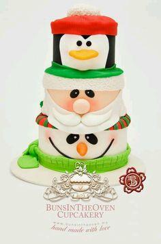Stapel sneeuwman, kerstman, pinguïn