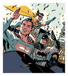 The World's Finest: Superman, Batman and Robin by Michael Cho. Dc Comics Characters, Dc Comics Art, Batman Comics, Comic Book Artists, Comic Books Art, Comic Art, Flash Comic Book, League Of Heroes, Action Comics 1