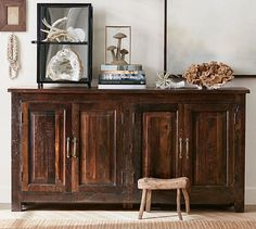 Bowry Reclaimed Wood Media Console, Rustic Reclaimed Finish