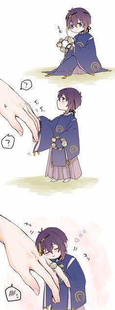 Kawaii Chibi, Chibi, Hanamaru, Cute Art, Character, Touken Ranbu Mikazuki, Manga, Touken Ranbu, Anime Chibi