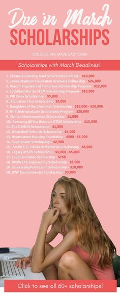60+ college scholarships that are due in March this year. Don't let these deadlines pass you by! Check out the entire list to start applying right away, only the most current scholarships are available at CollegeLifeMadeEasy.com. #college #collegelife #scholarship #scholarships #highschool #gradschool #undergrad #seniors #juniors #highschoolstudents #award #women Grants For College, Financial Aid For College, College Planning, Online College, Education College, College Tips, College Checklist, College Costs, Boston College