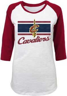 5f085a41c Cleveland Cavaliers Junior Fit White Raglan Slub Long Sleeve Crew T-Shirt