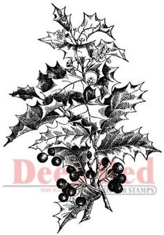 Holly Branch Deep Red Cling Rubber Stamp Set