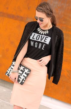 Love more Tee, blush pencil skirt, black bomber jacket, crystal statement necklace, black and white clutch - LUV!!