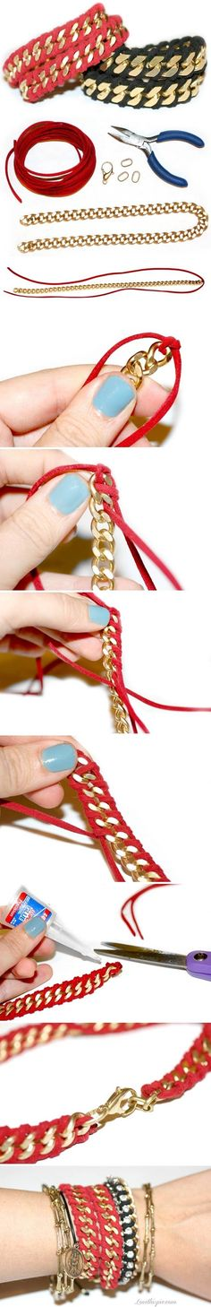 gold chain and red leather bracelet diy Jewelry Crafts, Handmade Jewelry, Bijoux Diy, Crafty Craft, Crafting, Diy Accessories, Diy Fashion, Style Fashion, Fashion Ideas
