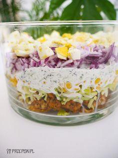 Sałatka Tzatziki Tzatziki, Pasta Salad, Acai Bowl, Cereal, Breakfast, Ethnic Recipes, Grill, Food, Garden