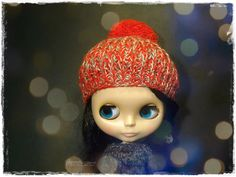 BLYTHE, Pullip, SD, SD+ Hat - Knitted Multicolor Red, Green and Brown Hat With Pompom #11 by MPdollWorld on Etsy