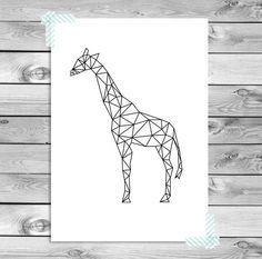 A3 Printable Art Poster Print Zwart Wit Giraf door DesignClaud