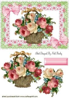 BASKET OF ROSES WITH BOWS IN LACE FRAME on Craftsuprint designed by Nick Bowley - BASKET OF ROSES WITH BOWS IN LACE FRAME, Makes a pretty card... matching insert cup543527_415 - Now available for download!