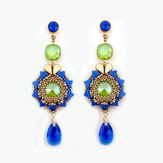 Boucles d'oreilles Salomé en Swarovski majestic blue et lime et perles en verre Amos®par Puca®