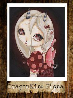 Fairy goth dragon girl lowbrow fantasy art print  by WhiteStag, $7.00