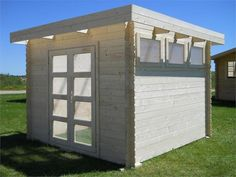 Moderna 10 x 10 Wood Storage Shed: we offer the very popular Moderna 10 x 10 Wood Storage Shed that is produced by Solid Build. This wood shed has unique door windows and side windows for plenty of natural lighting. Storage Shed Kits, Wood Storage Sheds, Wood Shed, Flat Roof Design, Shed Design, Garden Cabins, Garden Gazebo, Cheap Sheds, Modern Shed