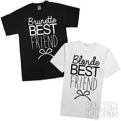 Brunette Best Friend and Blonde Best Friend Matching T-Shirts  Shirt…
