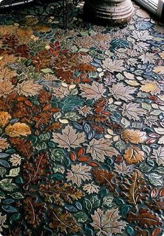 Extraordinary mosaic floor, reminiscent of autumn.