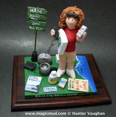 Girlfriends Birthday Gift Personalized www.magicmud.com 1 800 231 9814 creating a custom made gift figurine for any woman  based on the things she likes to do! ...incorporating her work, sports, family, hobbies, food, drink, shopping, etc. $225 #mom #mother #momsgift #wife #christmas #birthday #anniversary #custom #personalized #xmas #present #award #ChristmasGift #BirthdayGift #sister #girlfriend #aunt #BFF #physicaltherapist