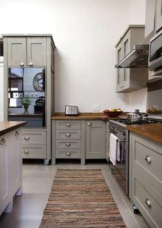 Swedish Style Free Standing kitchen units from Milestone Kitchens painted in Dulux: Dusted Moss 1 http://www.milestonekitchens.co.za/