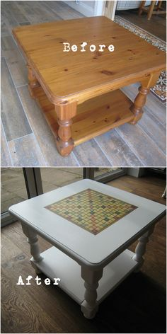 Decoupaging Scrabble board onto a pine coffee table! Amazing transformation :) Painted in Autentico Casa Blanca and decoupaged in Mod Podge. Decoupage Coffee Table, Pine Coffee Table, Decoupage Furniture, Refurbished Furniture, Repurposed Furniture, Furniture Projects, Furniture Makeover, Cool Furniture, Painted Furniture