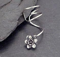 Sterling Silver Flower EAR CUFF  Handcrafted by SunnySkiesStudio, $24.95. I am in love with earcuffs!!