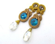 Dangle Earrings Clip-on Soutache Earrings with Crystals Handmade Jewelry Gift