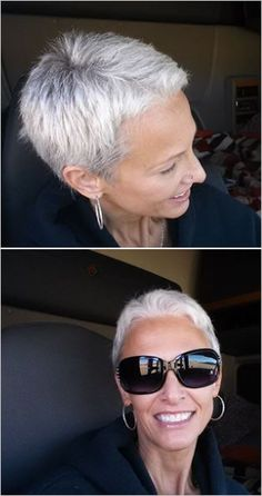 Previous pinner: This is the road I took. short silver hair - looks fast and easier than growing it out