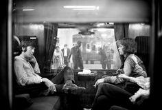Paul McCartney and Mick Jagger traveling to Bangor, 1967.