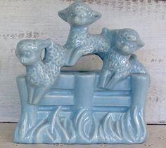 Vintage Antique Midcentury Haeger Blue Pottery Lamb Nursery or Childs Room Planter Blue Pottery, Vintage Pottery, Vintage Antiques, Vintage Items, Cute Little Baby, Little Babies, Lamb Nursery, Hobby Horse, Flower Frog