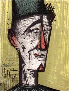 Bernard Buffet, Lithographie originale, Jojo le clown, 1967