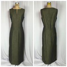 Ann Taylor Olive Green Linen Blend Sleeveless Long Sheath Maxi Dress 8 | eBay