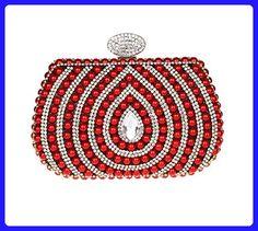 Finger Ring Heart Shaped Women Diamonds Beaded Evening Bag Luxury Clutch Shoulder Chain Red - Shoulder bags (*Amazon Partner-Link)