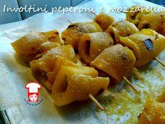 Spiedini di peperoni con mozzarella e acciughe