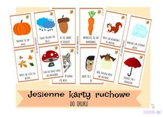Dzieckiem bądź: Jesienne karty ruchowe DO DRUKU Activities For 2 Year Olds, Kids Education, Cool Kids, Montessori, Diy And Crafts, Kindergarten, Holiday Decor, Speech Language Therapy, Bebe