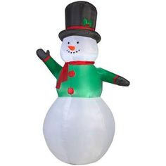 Gemmy 63.39 in. D x 51.18 in. W x 107.48 in. H Inflatable Snowman 12683 at The Home Depot - Mobile