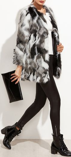 Multicolor Faux Fur Collarless Coat