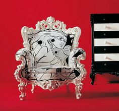 Comic strip fabric on a lacquered white rococo inspired armchair | Lea Bassani Design | Furniture & Accessories | Kings Point, NY