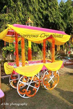 A beautiful vibrant color cart , perfect for Mehandi/Haldi Decor