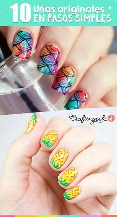 ¡Te doy 10 ideas de diseños de uñas originales y cute para este verano que te van a encantar! Nail Lab, Tips Belleza, Nail Art Designs, Nails, Makeup, Beauty, Link, Outfits, Galaxy Nail