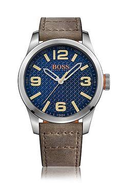 Hugo Boss Paris Stainless Steel Dark Beige Leather Strap Watch 9dca7b9859b