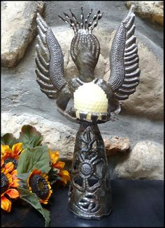 """Decorative Metal Candle Holder - Angel Design - Haitian Steel Drum - 13"""" - $19.95 - -- Haitian Metal Art, Recycled Steel Drum Art of Haiti, Metal Candle Holder - Handcrafted Metal Art  - Haitian Art – Haitian Steel Drum Metal Art – To see more, visit us at www.HaitiGallery.com"""