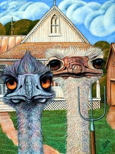 """""""Family Affair"""" by D. Arthur Wilson, via artgonewildstudios; Rhupert the Ostrich and wife, after """"American Gothic"""" American Gothic Painting, American Gothic Parody, American Art, Pop Art, Wilson Art, Grant Wood, Famous Artwork, Arts Ed, Art Institute Of Chicago"""