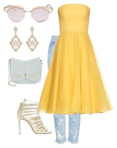 """""""Dress with denim vol.2"""" by libylov on Polyvore featuring Topshop, Alexander McQueen, Ted Baker, Casadei, Le Specs and Sara Weinstock"""